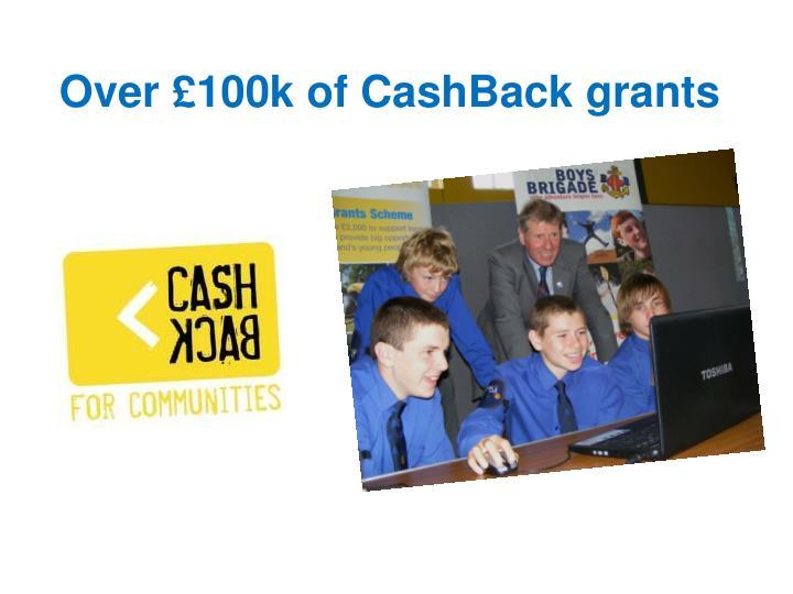 Over £100k of CashBack grants