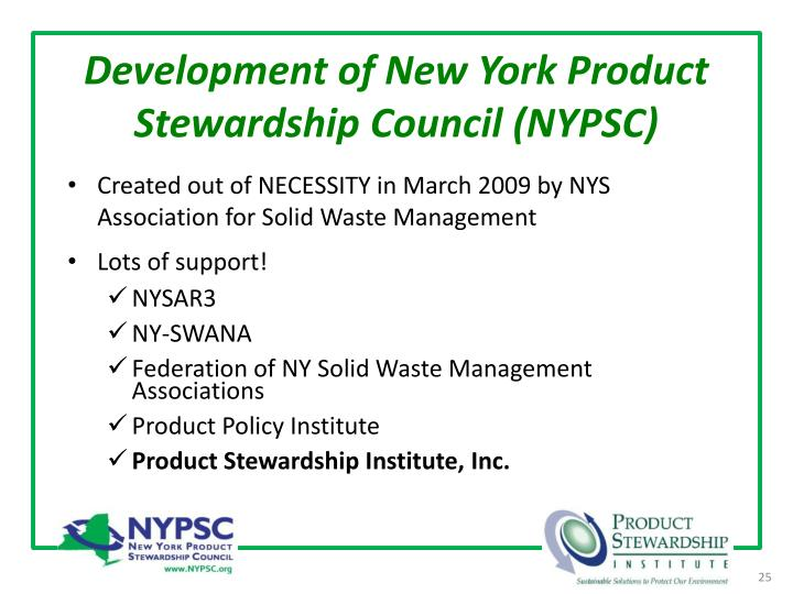 Development of New York Product Stewardship Council (NYPSC)