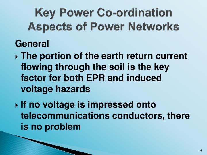 Key Power Co-ordination Aspects of Power Networks