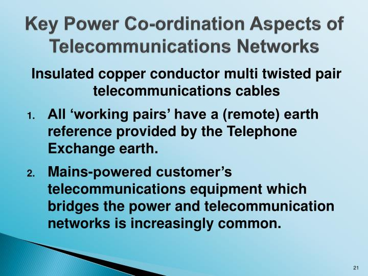 Key Power Co-ordination Aspects of