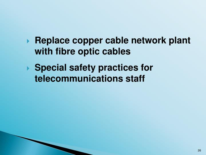 Replace copper cable network plant with fibre optic cables