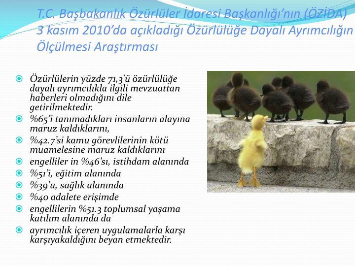 T.C. Babakanlk zrller daresi Bakanlnn (ZDA) 3 kasm 2010da aklad zrlle Dayal Ayrmcln llmesi Aratrmas
