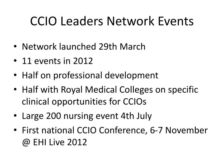 CCIO Leaders Network Events