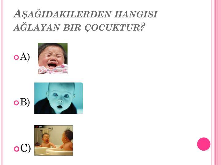 Aşağıdakilerden hangisi ağlayan bir çocuktur?