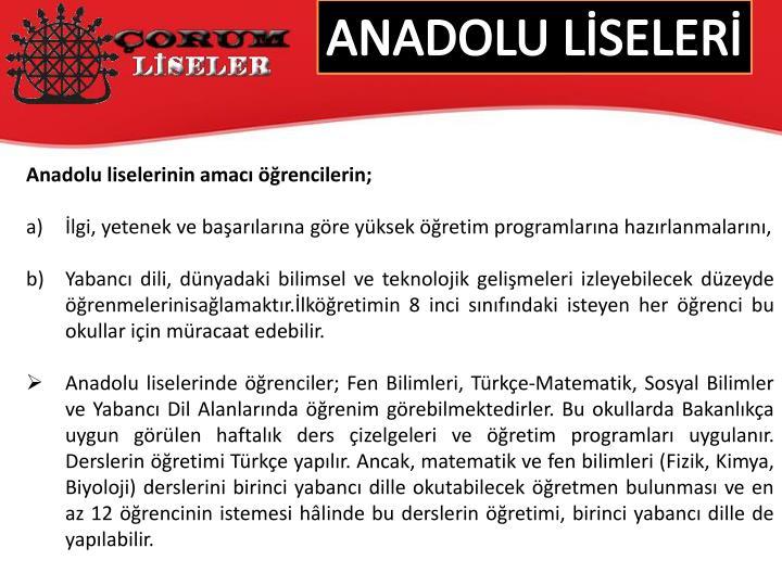 ANADOLU LSELER