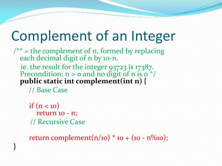 Complement of an Integer