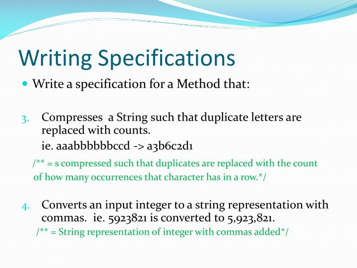Writing Specifications