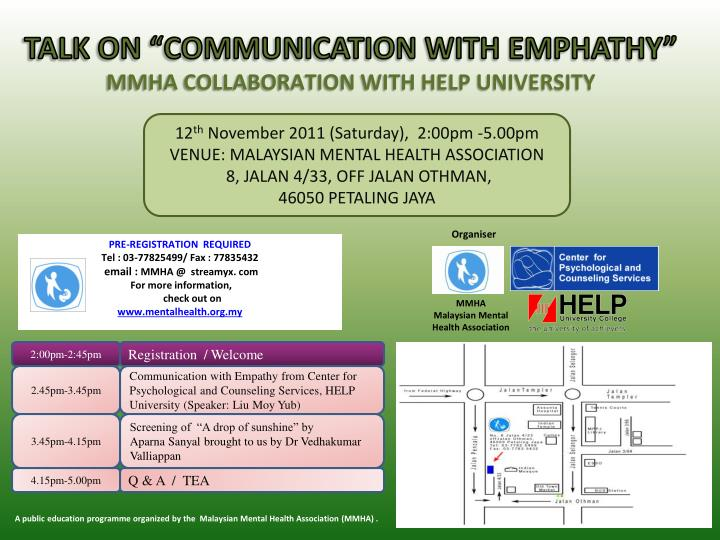 "TALK ON ""COMMUNICATION WITH EMPHATHY"""
