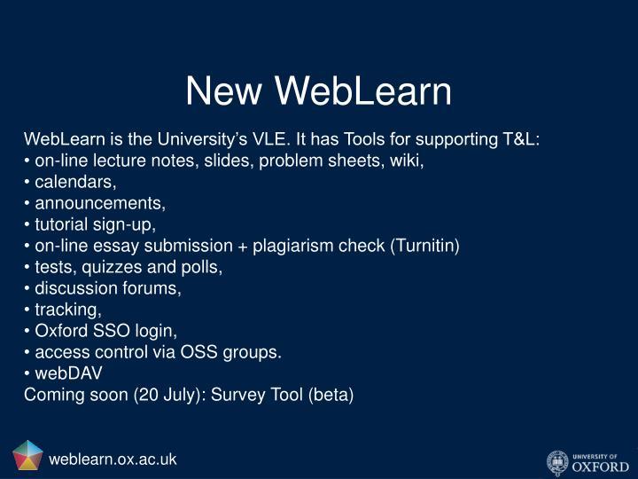 New WebLearn