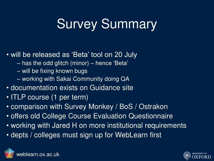 Survey Summary