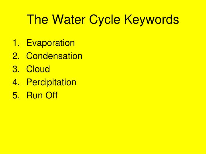 The Water Cycle Keywords