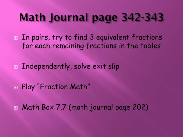 Math Journal page 342-343