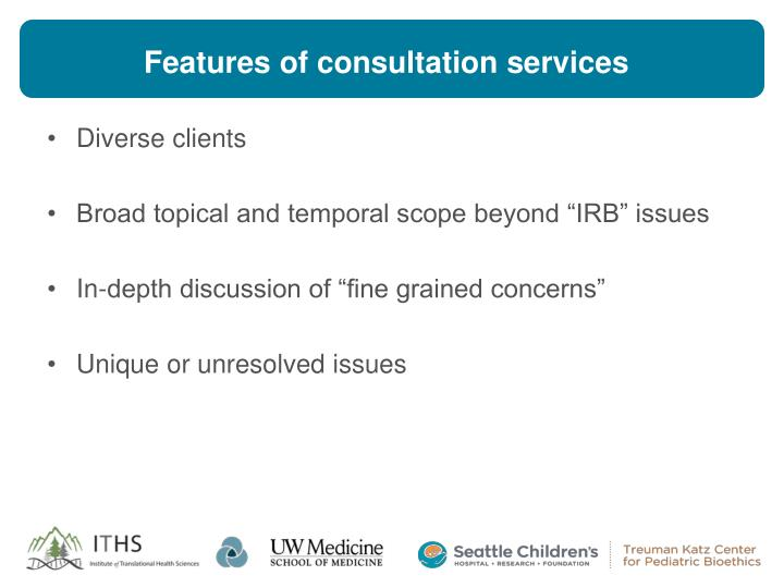 Features of consultation services