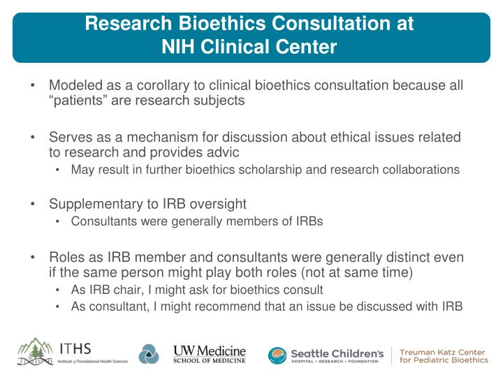 Research Bioethics Consultation at