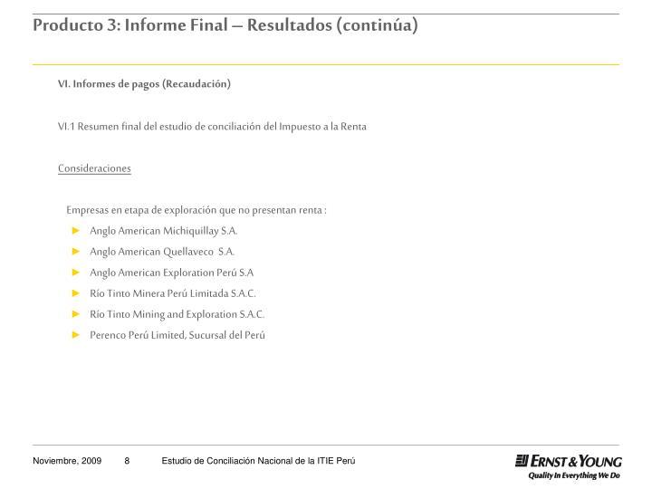 VI. Informes de pagos (Recaudación)