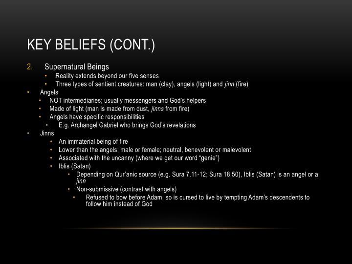 Key beliefs (cont.)