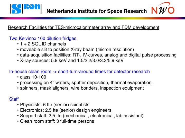 Research Facilities for TES-microcalorimeter array and FDM development