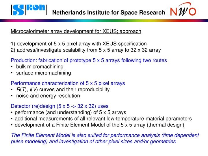 Microcalorimeter array development for XEUS; approach
