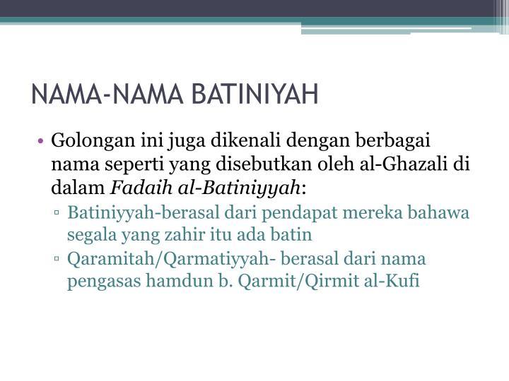 NAMA-NAMA BATINIYAH