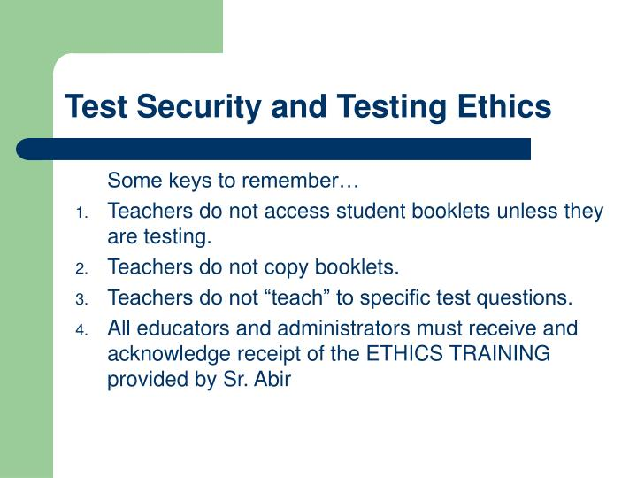 Test Security and Testing Ethics