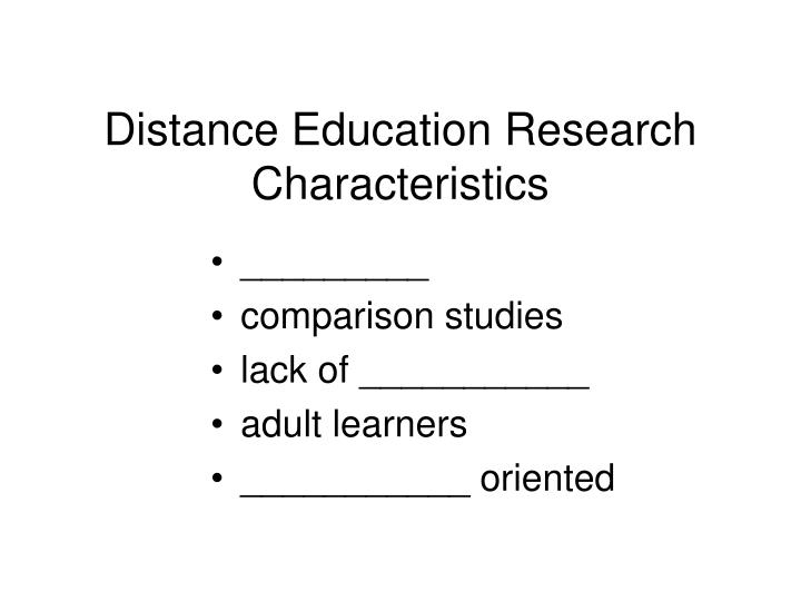 Distance Education Research Characteristics