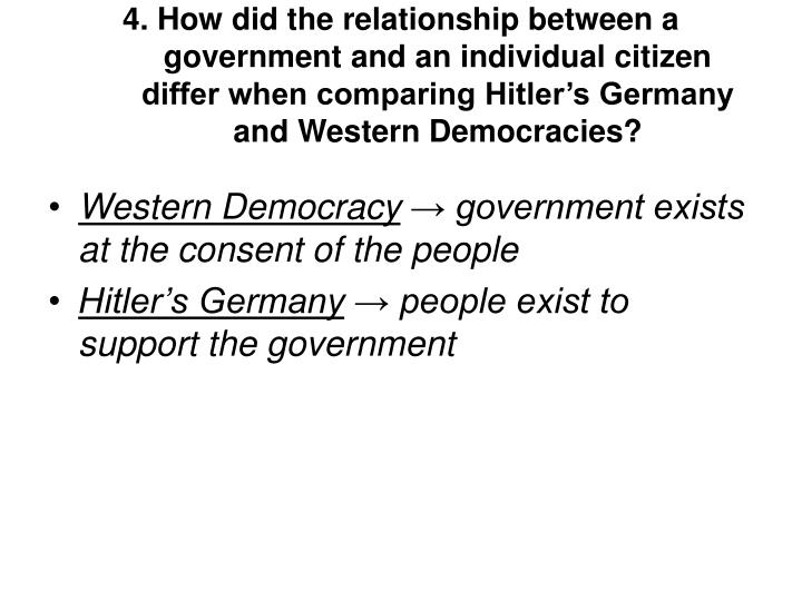 4. How did the relationship between a government and an individual citizen differ when comparing Hitler's Germany and Western Democracies?