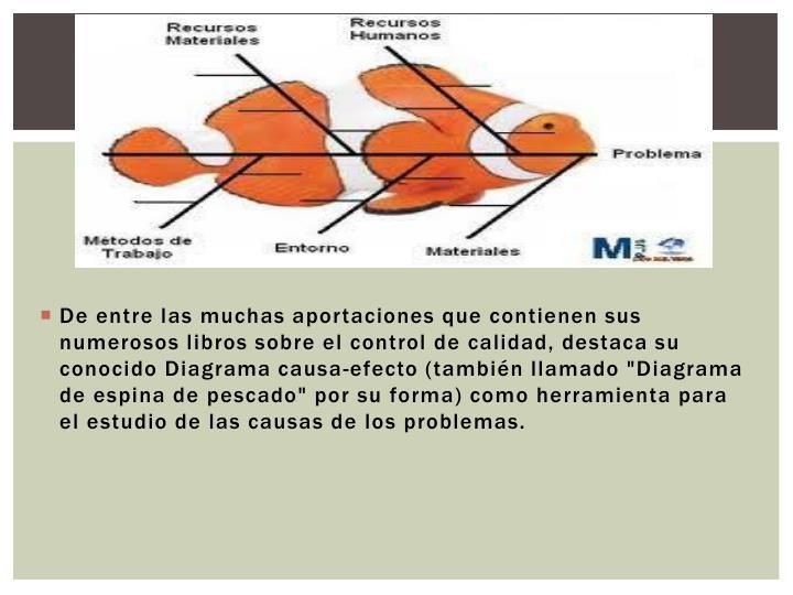 """De entre las muchas aportaciones que contienen sus numerosos libros sobre el control de calidad, destaca su conocido Diagrama causa-efecto (también llamado """"Diagrama de espina de pescado"""" por su forma) como herramienta para el estudio de las causas de los problemas."""