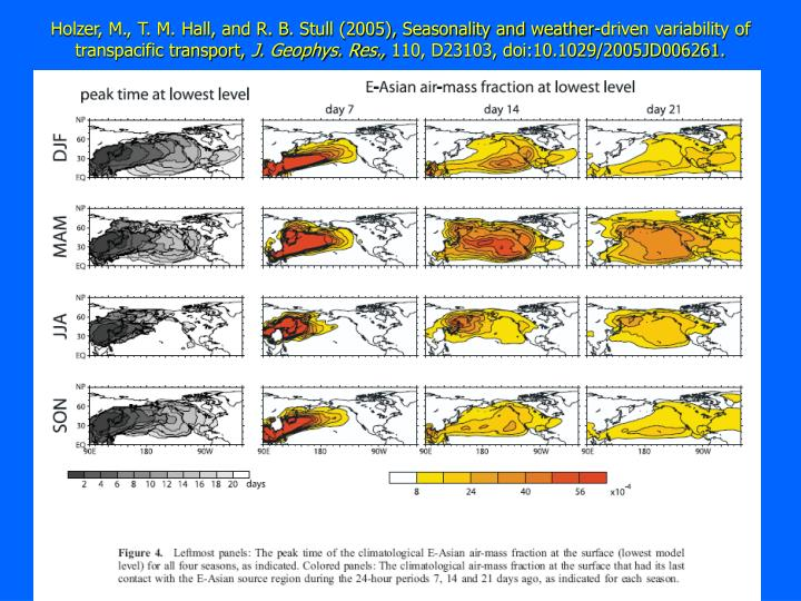 Holzer, M., T. M. Hall, and R. B. Stull (2005), Seasonality and weather-driven variability of transpacific transport,