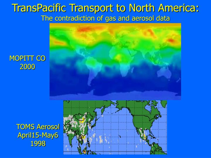 Transpacific transport to north america the contradiction of gas and aerosol data