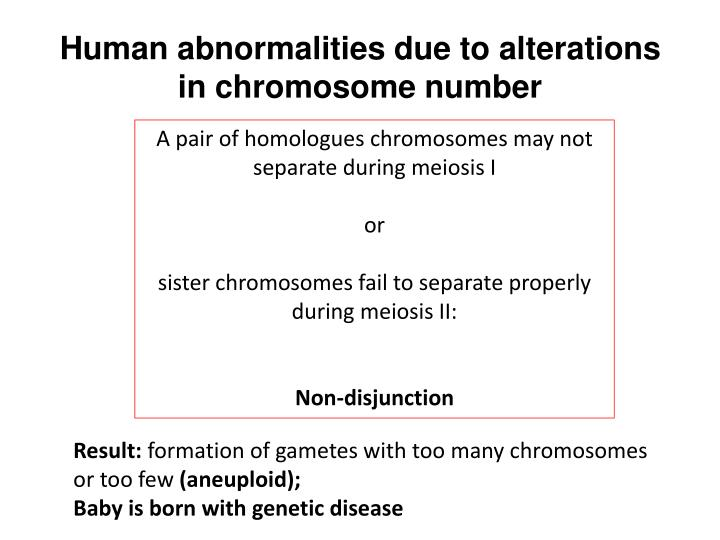 Human abnormalities due to alterations in chromosome number
