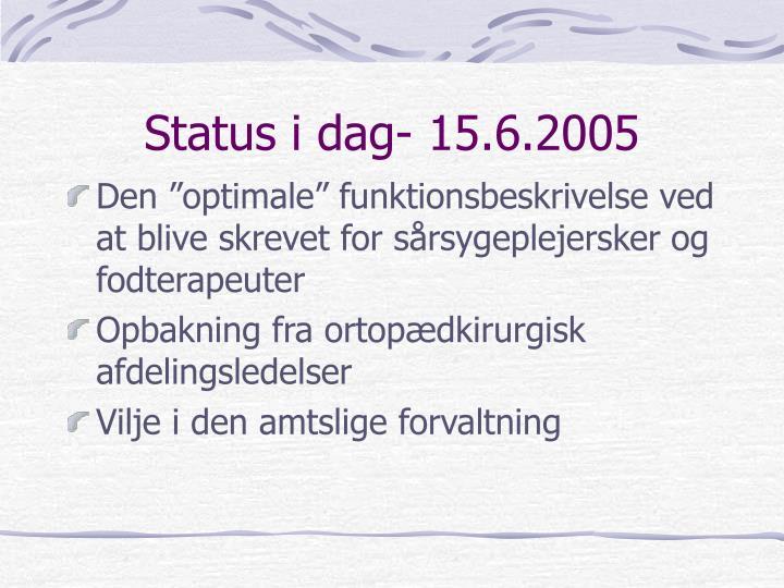 Status i dag- 15.6.2005