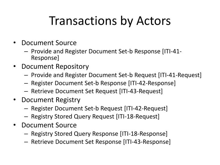 Transactions by Actors