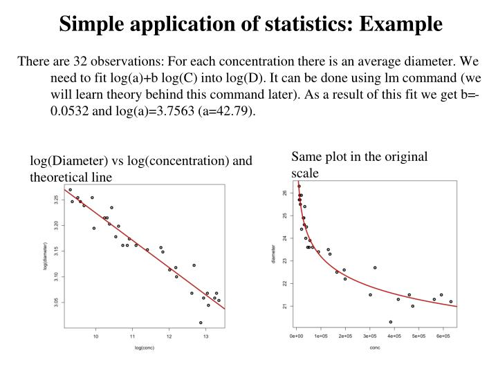 Simple application of statistics: Example
