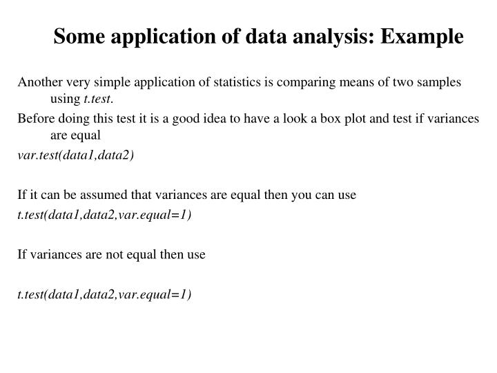 Some application of data analysis: Example