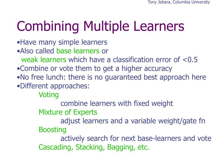 Combining multiple learners