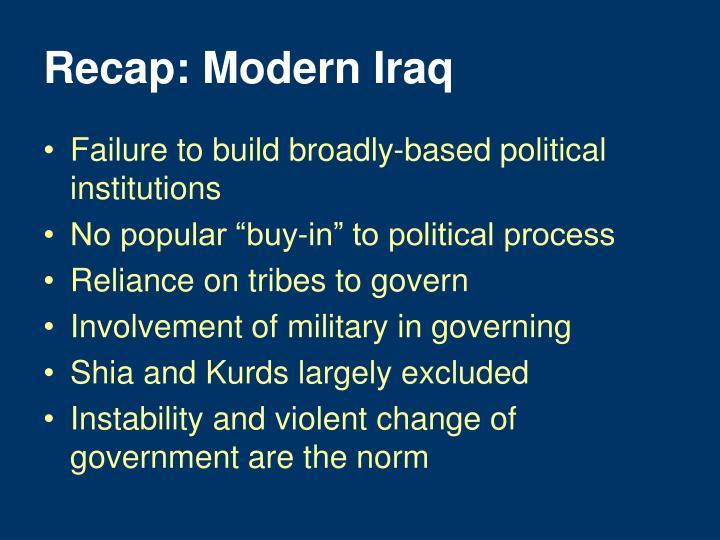 Recap: Modern Iraq