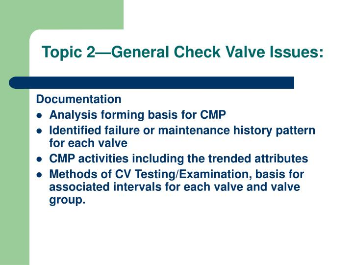 Topic 2—General Check Valve Issues: