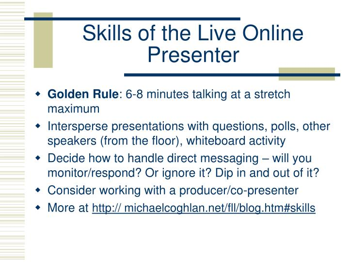 Skills of the Live Online Presenter