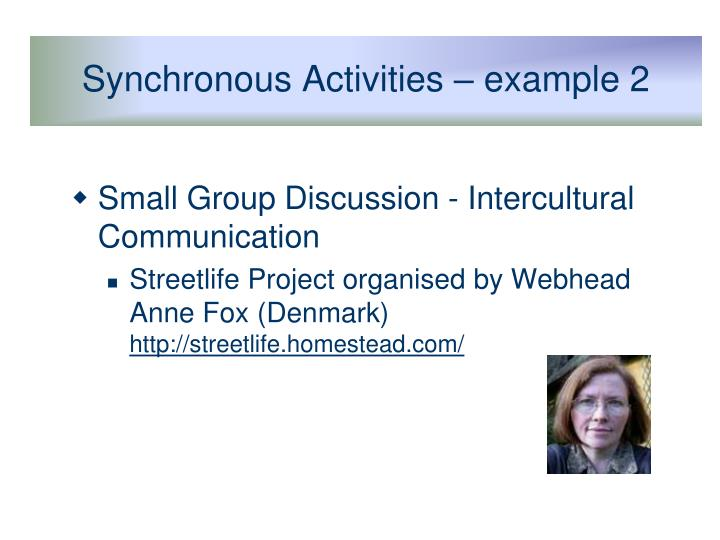 Synchronous Activities – example 2
