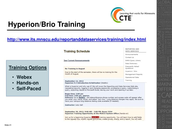 Hyperion/Brio Training