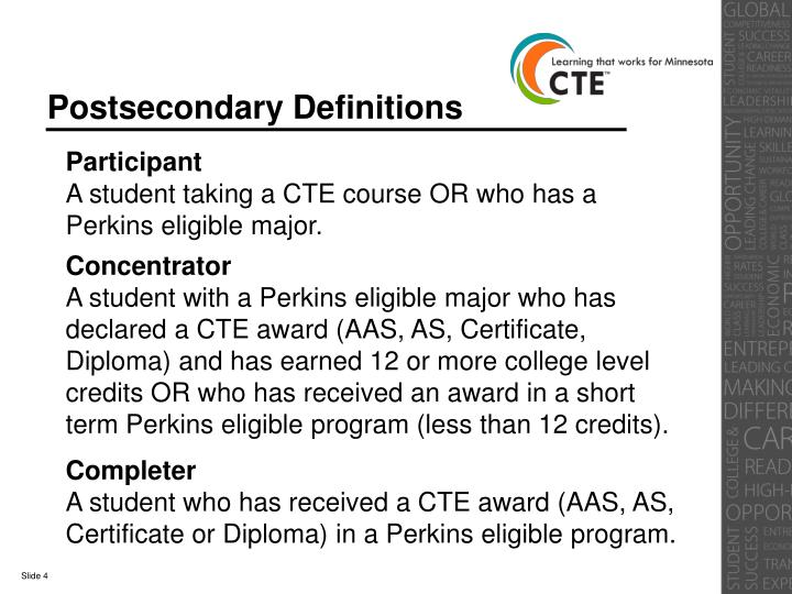 Postsecondary Definitions