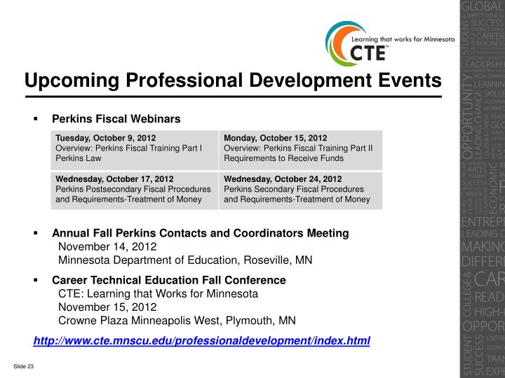 Upcoming Professional Development Events
