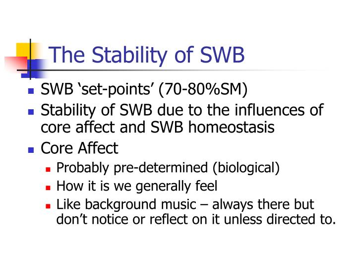 The Stability of SWB