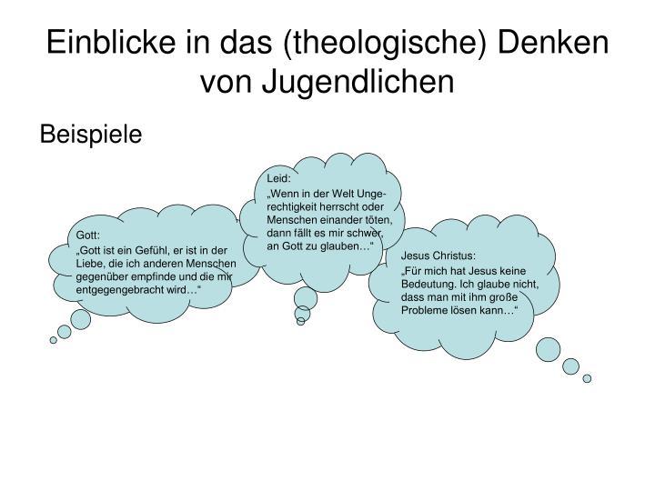Einblicke in das (theologische) Denken von Jugendlichen