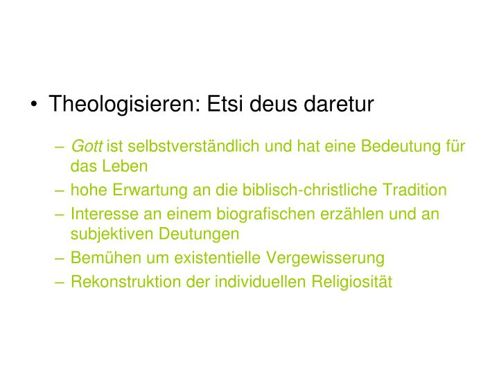 Theologisieren: Etsi deus daretur