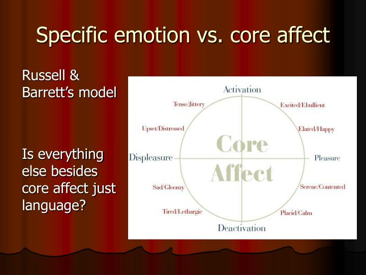 Specific emotion vs. core affect