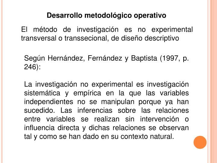 Desarrollo metodológico operativo