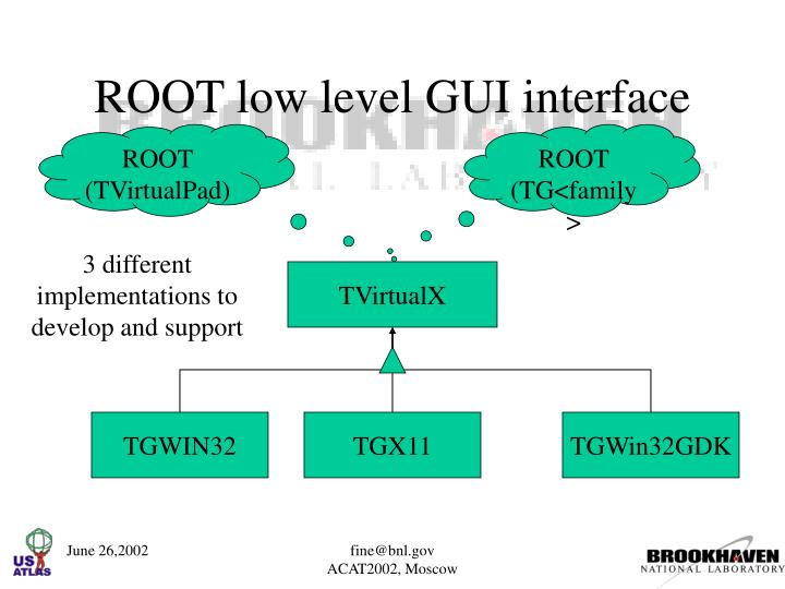 ROOT low level GUI interface