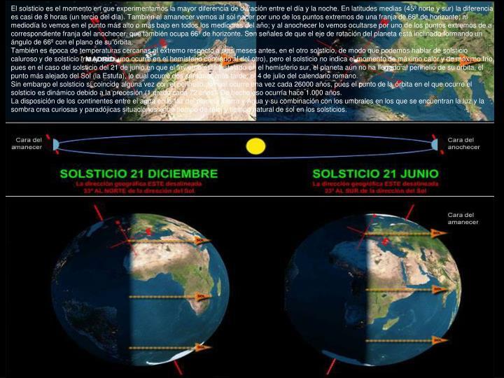 El solsticio es el momento en que experimentamos la mayor diferencia de duración entre el día y la noche. En latitudes medias (45º norte y sur) la diferencia es casi de 8 horas (un tercio del día). También al amanecer vemos al sol nacer poruno de los puntos extremos de una franja de 66º de horizonte; al mediodía lo vemos en el punto más alto o más bajo en todos los mediodías del año; y al anochecer lo vemos ocultarse por uno de los puntos extremos de a correspondiente franja del anochecer, que también ocupa 66º de horizonte. Son señales de que el eje de rotación del planeta está inclinado formando un ángulo de 66º con el plano de su órbita.