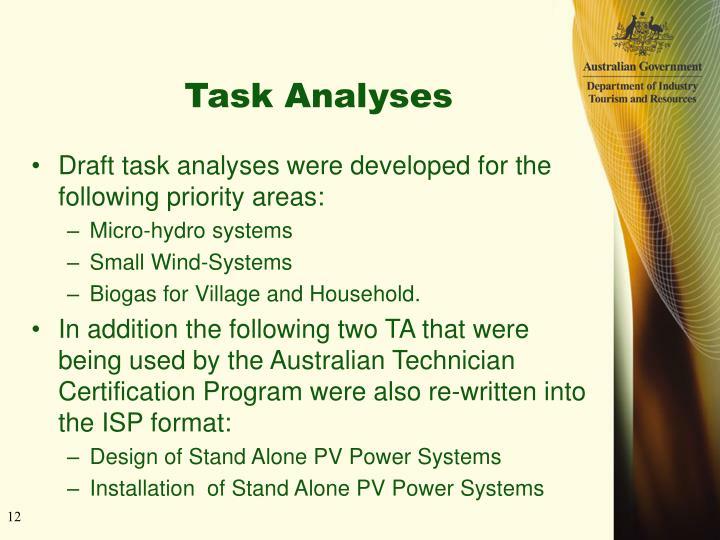 Task Analyses